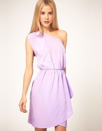 ASOS Collection  One Shoulder Dress with Wrap Skirt - Lyst
