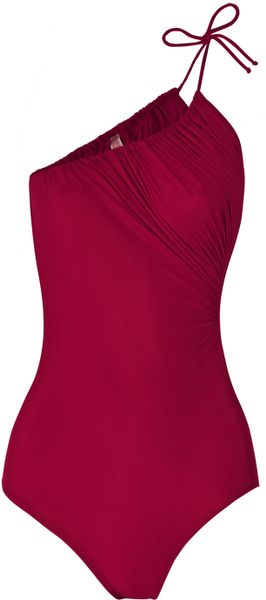 Lanvin Asymmetric Ruched Swimsuit in Brown (raspberry) - Lyst