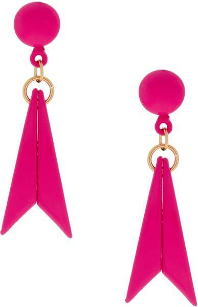 Reverse  Mini Drop Earrings in Pink