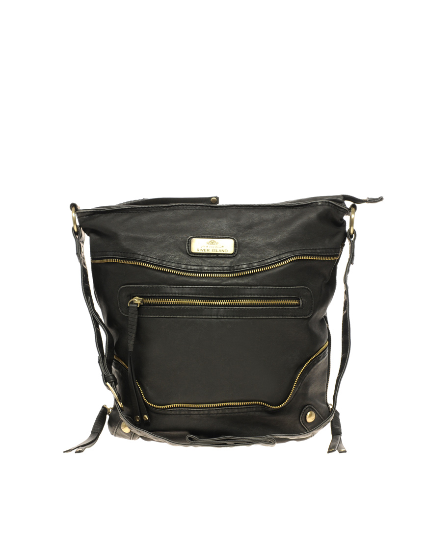 River Island Zip Front Messenger Bag