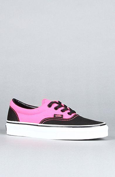 vans the era sneaker in neon pink and black in pink lyst