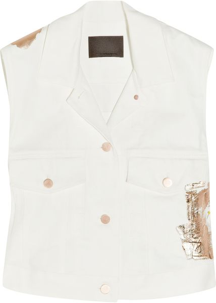 Alexander Wang Foil-appliqué Denim Vest in Beige (white) - Lyst