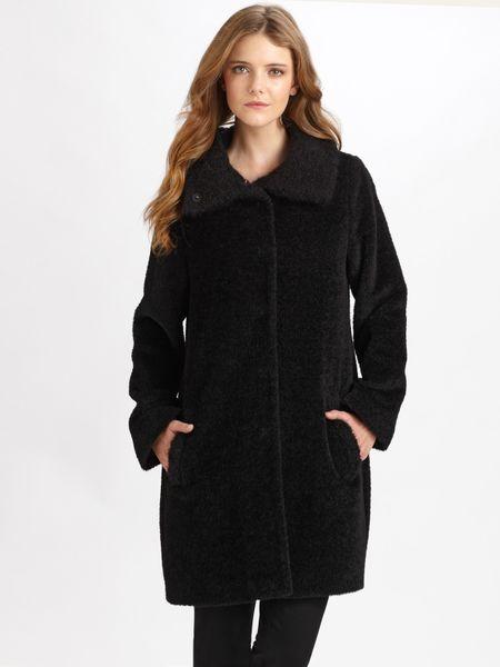 Eileen Fisher Wool Alpaca Coat In Black Lyst