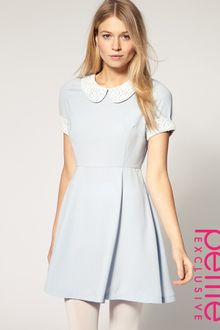 ASOS Collection Asos Petite Exclusive Waisted Dress with Crochet Collar and Cuff - Lyst