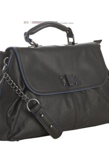 BCBGMAXAZRIA Black Pebbled Leather Chain Handle Satchel - Lyst