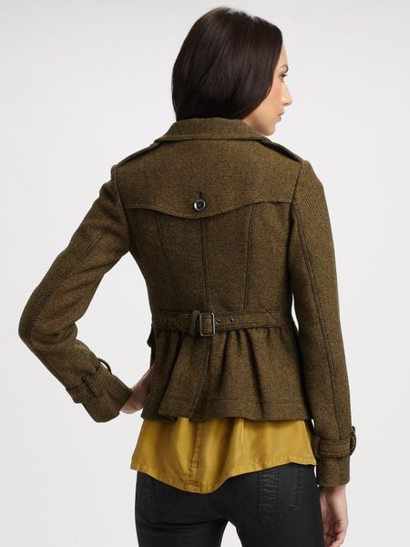 Burberry Brit Tweed Jacket In Green Gold Lyst