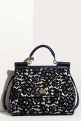 Dolce & Gabbana Miss Sicily Lace Lambskin Leather Top Handle Satchel in Black - Lyst