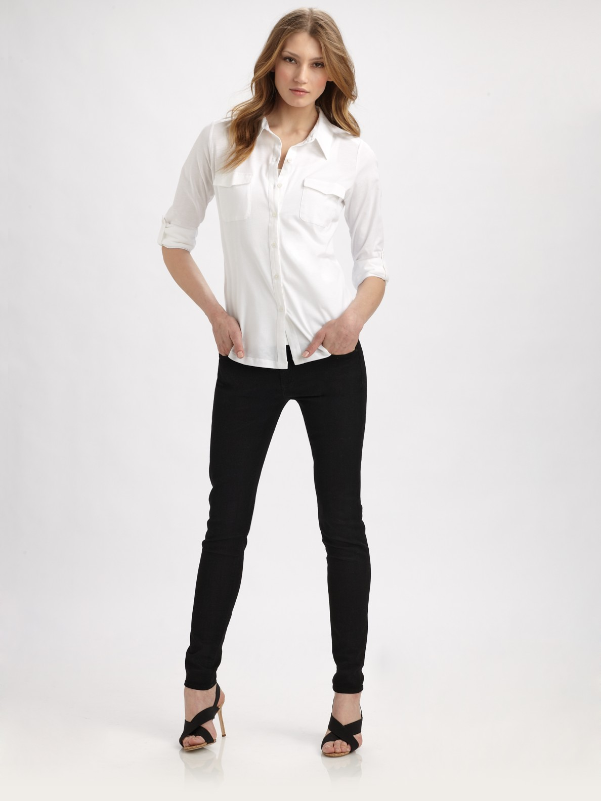 Eileen fisher Organic Cotton Button-down Shirt in White | Lyst