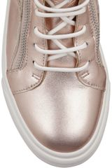 Giuseppe Zanotti Studded Metallic Leather Sneakers in Brown (blush) - Lyst