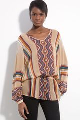Haute Hippie Take Me To The River Sheer Printed Silk Blouse - Lyst