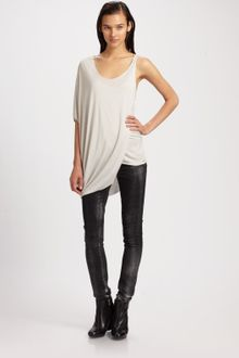 Helmut Lang Chrome Jersey Side-draped Top - Lyst