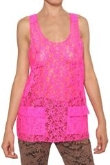 Msgm Lace Top in Pink (fuchsia) - Lyst