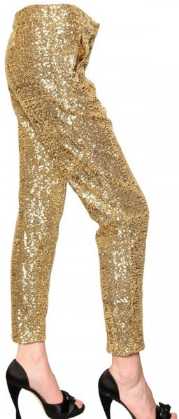N°21 Sequined Satin Trousers - Lyst