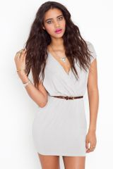 Nasty Gal Sunday Wrap Dress - Silver - Lyst
