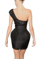 Paco Rabanne One Shoulder Silk Organza Tulip Dress in Black - Lyst