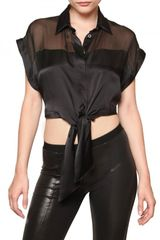 Pierre Balmain Silk Chiffon and Satin Shirt - Lyst