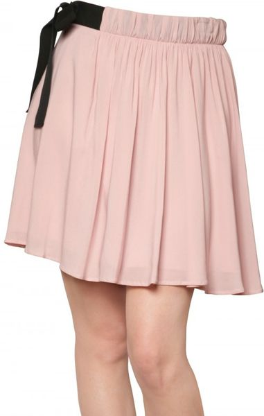Red Valentino Flowy Crepe Bow Skirt in Pink (blush)