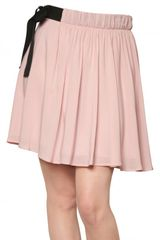 Red Valentino Flowy Crepe Bow Skirt in Pink (blush) - Lyst
