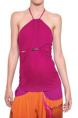Roberto Cavalli Gathered Viscose Crepe Top in Purple - Lyst