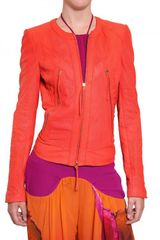 Roberto Cavalli Perforated Nappa Leather Jacket - Lyst