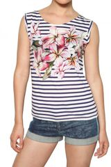 Stella McCartney Flower Print Stripey Jersey Tank Top - Lyst
