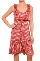 Tory Burch Ruched Pois Satin Fil Coupè Dress - Lyst
