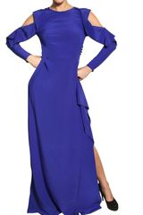 Vionnet Cut Off Crepe De Chine Long Dress in Blue - Lyst
