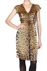Yves Saint Laurent Leopard Silk Satin Dress - Lyst