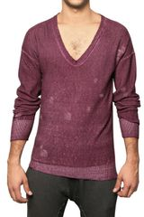 Aimo.richly Cotton Knit V-neck Sweater - Lyst