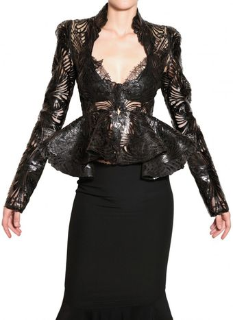 Alexander McQueen Lasercut Patent Leather and Lace Jacket - Lyst
