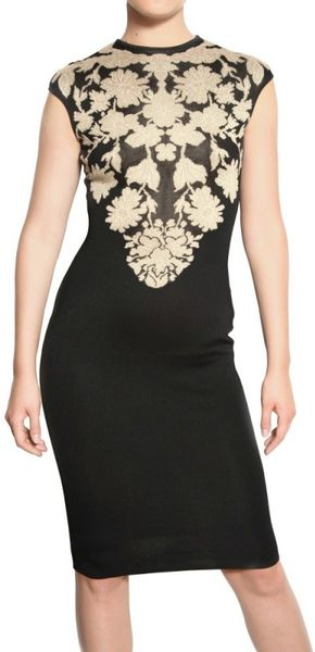 Alexander Mcqueen Viscose Silk Jacquard Dress in Black - Lyst