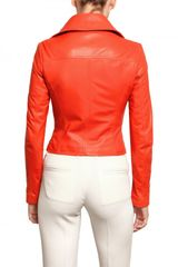 Antonio Croce Soft Nappa Biker Leather Jacket in Red - Lyst