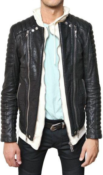 Balmain Goatskin Biker Leather Jacket - Lyst
