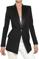 Balmain Satin Peaked Lapel Cool Wool Jacket - Lyst