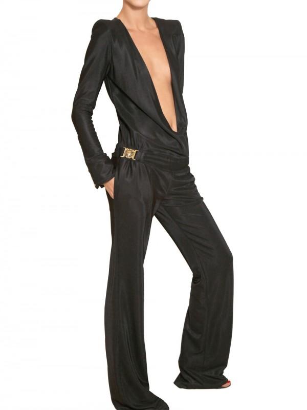 01b26ad1bfbb Lyst - Balmain Textured Viscose Jersey Jumpsuit in Black