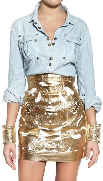 Balmain  Cotton Denim Shirt - Lyst