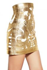 Balmain Gold Laminated Nappa Skirt in Gold - Lyst