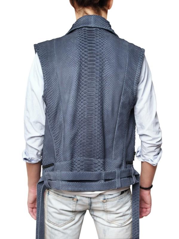 Lyst Balmain Python Vest In Gray For Men