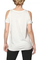 Beayukmui Cut Out Sequined Jersey Tshirt in White - Lyst