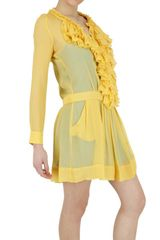 Beayukmui Silk Chiffon Ruffle Dress in Yellow - Lyst