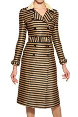 Burberry Prorsum Striped Raffia-weave Trench Coat - Lyst