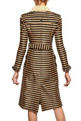 Burberry Prorsum Striped Raffiaweave Trench Coat in Beige - Lyst