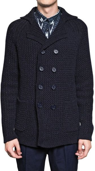 Burberry Prorsum Cotton Alpaca Chunky Knit Sweater in Blue for Men - Lyst