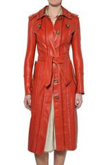 Burberry Prorsum Embroidered Double Leather Coat - Lyst