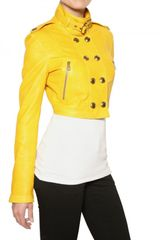 Burberry Holmbridge Nappa Short Leather Jacket in Yellow - Lyst