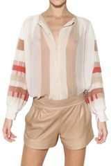 Chloé Pleated Silk Georgette Shirt - Lyst