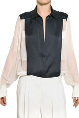 Chloé Silk Satin and Silk Chiffon Shirt - Lyst