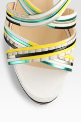 Christian Louboutin Meteorita Metallic Leather and Snakeprint Leather Platform Sandals in Multicolor (multi) - Lyst