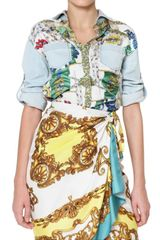D&G Denim And Printed Silk Twill Patchwork Shirt - Lyst