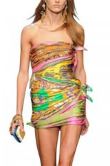 D&G Scarf Print Satin and Twill Dress - Lyst